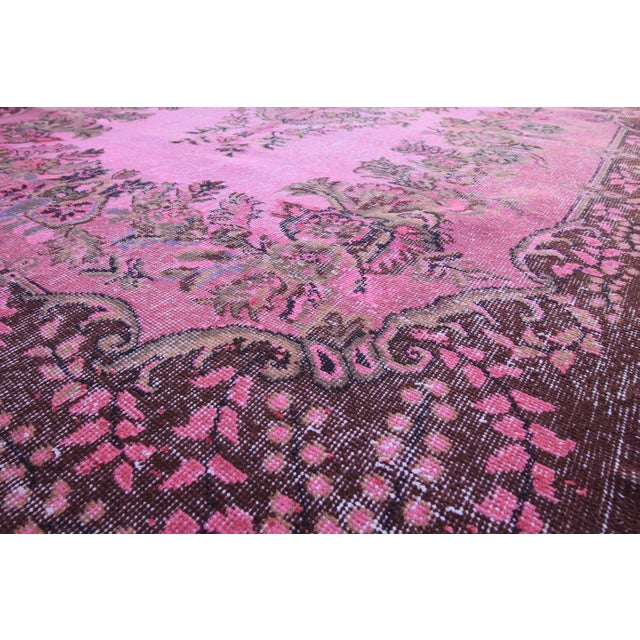 "Vintage Turkish Pink Overdyed Rug - 6' X 9'9"" For Sale - Image 4 of 5"