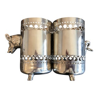 Rare Wild Boar Silver Plated Double Bottle Holder For Sale