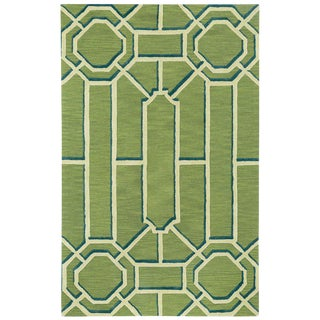 Fretwork' Green, Blue, and White 'Seaglass' Wool Rug - 9′ × 12′ For Sale