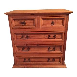 1990s Vintage Rustic Pine 5-Drawer Bureau