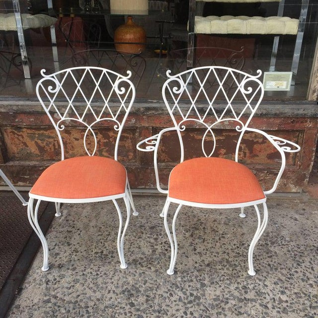 Mid Century Wrought Iron Patio Garden Dining Chair Set- 6 Pieces For Sale In New York - Image 6 of 9
