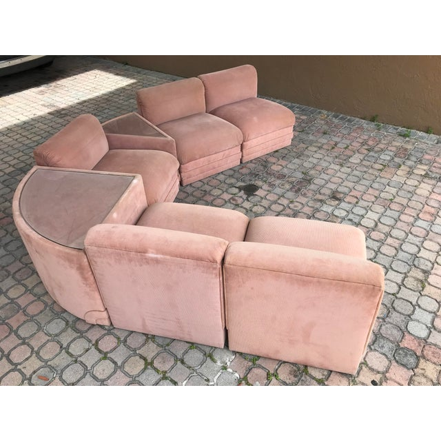 Art Deco Milo Baughman Style Seven-Piece Group Modular Sofa Sectional For Sale - Image 3 of 13
