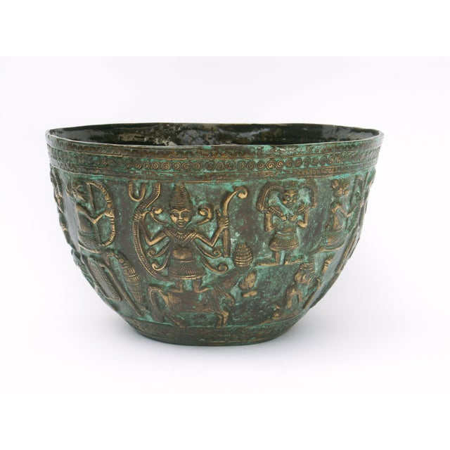 Asian Decorative Indonesian Bronze Bowl For Sale - Image 3 of 6