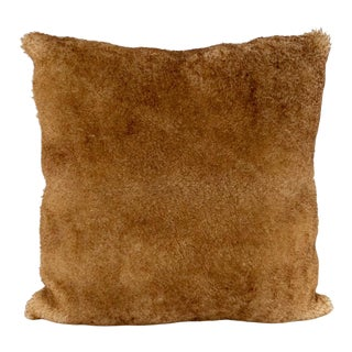 Tan Sheepskin and Suede Pillow by Tasha Tarno For Sale