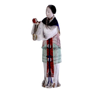 19th Century Chinese Terra Cotta Polychrome Painted Figure For Sale