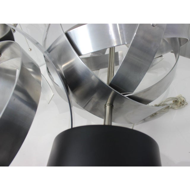 Vintage Modern Armillary Style Aluminum Table Lamps - the Pair For Sale In West Palm - Image 6 of 13