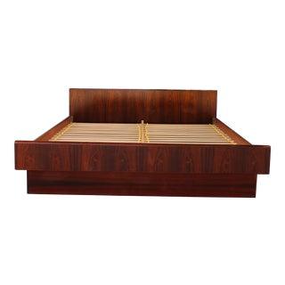 1980s Mid-Century Modern Rosewood Platform Bedframe For Sale