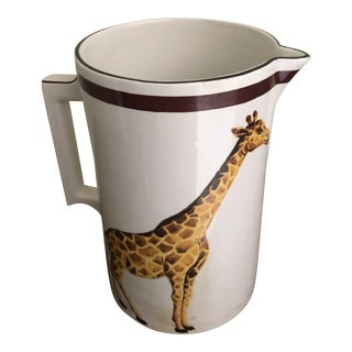 Vintage Mottahedeh Italian Pitcher with Giraffe and Yak For Sale