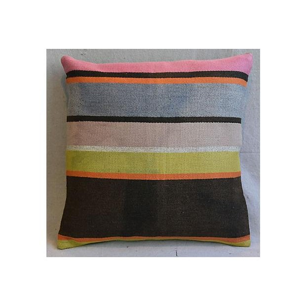 Custom Tailored Anatolian Turkish Kilim Wool Feather/Down Pillows - A Pair - Image 2 of 11