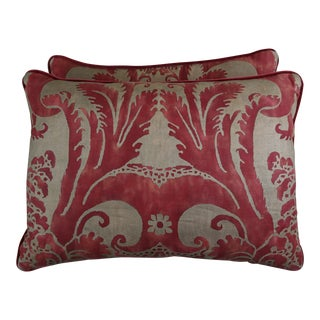 Crimson Red & Gold Fortuny Pillows - a Pair For Sale
