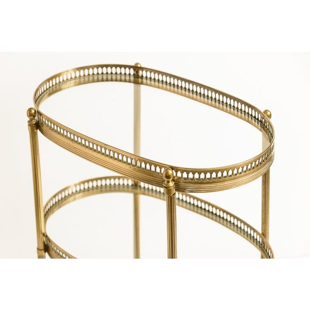 French Petite Brass Three Tier Gallery Table, After Maison Jansen For Sale - Image 11 of 13