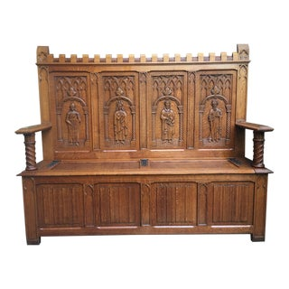 Antique French Carved Oak Hall Bench Settle Chest/Pew For Sale
