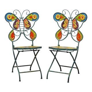 Unique Painted Iron and Inlaid Ceramic Mosaic Butterfly Chairs - a Pair For Sale