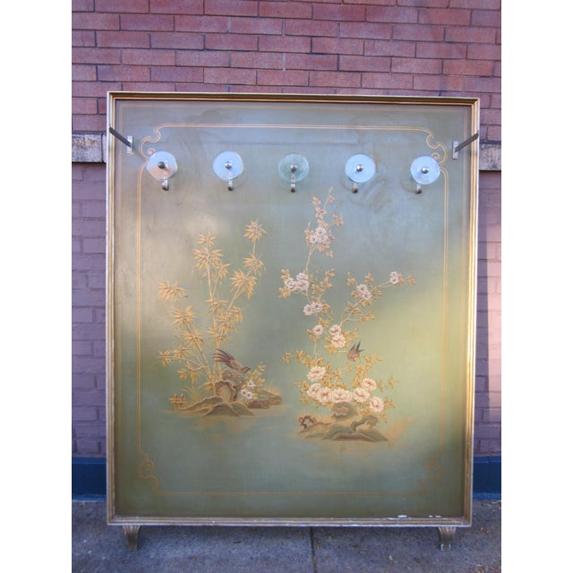 This is an absolutely gorgeous 1920s Italian hall tree in a stunning, muted celadon green painted with gold, ochre, brown,...