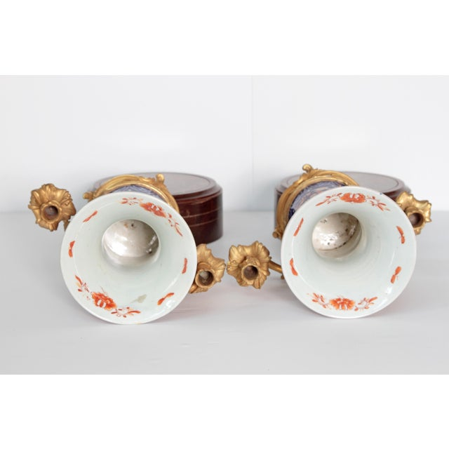 Gold Pair of 19th Century Ormolu Mounted Imari Vases With Mahogany and Marble Stands For Sale - Image 8 of 12