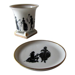 Vintage Black & White Silhouette Pencil Cup and Plate For Sale