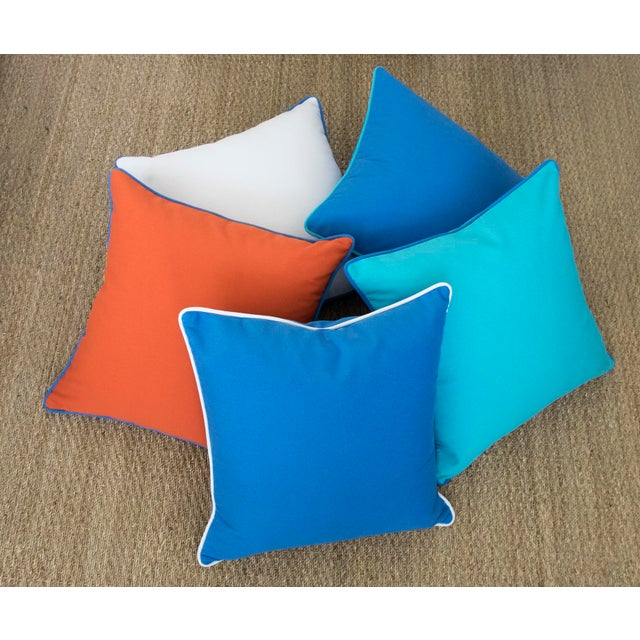 """Paradise Collection Blue Pillow Cover . With Zipper . White Contrast Welt . 22"""" X 22"""" - Image 6 of 8"""