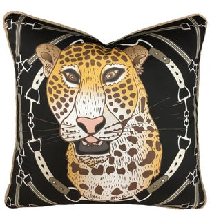 """Cheetah Plaid in Onyx 22"""" Pillow For Sale"""