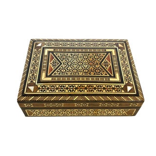 Vintage Lebanese Inlaid Mother-Of-Pearl and Wood Box For Sale