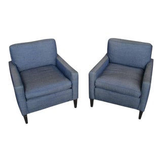 Pair of American 1940s Armchairs and Ottoman
