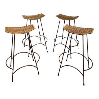 Mid-Century Arthur Umanoff Wicker and Iron Barstools - Set of 4 For Sale