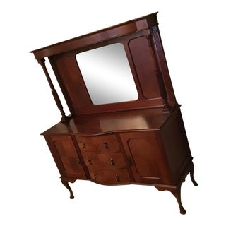 19th Century J. Hunter and Company Style Buffet With Hutch & Mirror, 2 Pieces For Sale