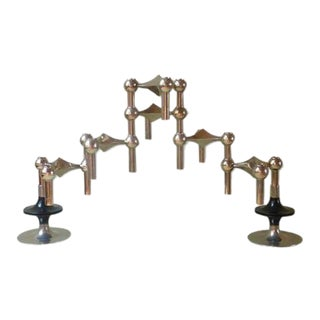 1960s Mid-Century Fritz Nagel & Ceasar Stoffi Modular Candleholders - Set of 8 For Sale