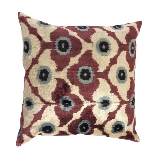 Maroon Silk Velvet Ikat Pillow - Image 1 of 4
