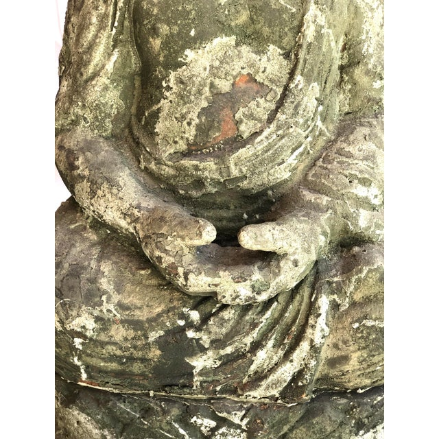 Late 20th Century Garden Terra Cotta Buddha Statue, Indoor or Outdoor, Original Patina For Sale - Image 5 of 12