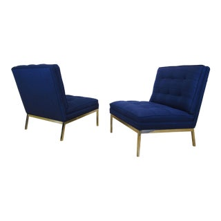 1960's Mid Century Florence Knoll Model #65 Lounge Chairs - A Pair For Sale