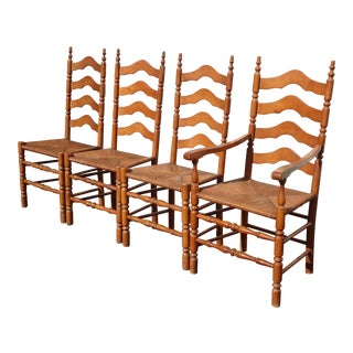 Set of Four Vintage French Country Brown Ladderback Rush Dining Chairs For Sale