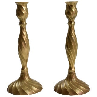 English Midcentury Bronze Candleholders, 1950's For Sale