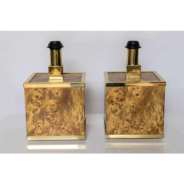 Burlwood and Brass Lamps by Romeo Rega For Sale In Miami - Image 6 of 10