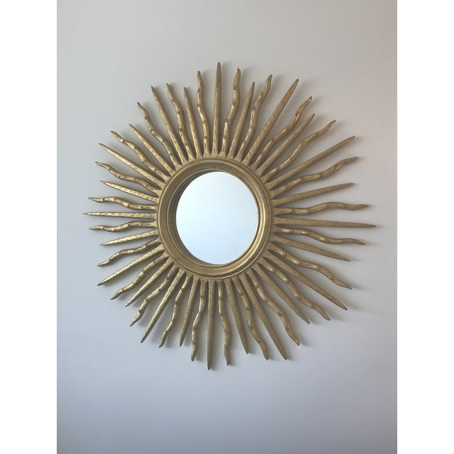Early 21st Century Contemporary Wood Sun Mirror - Image 4 of 4