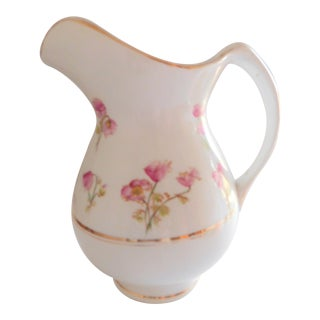White Porcelain Floral Water Pitcher - Turn of the Century For Sale