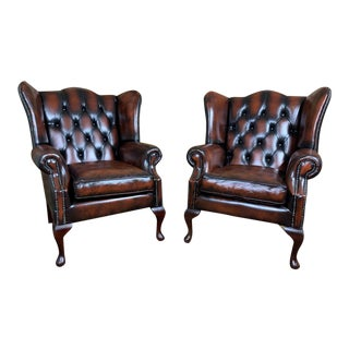Vintage Early 20th Century English Leather Chesterfield Wingback Chairs, Cordovan – a Pair For Sale