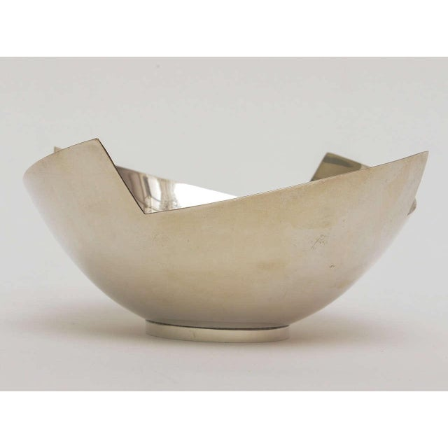 Modern Signed Sculptural Silver Plate Bowl by Elsa Rady for Swid Powell For Sale - Image 3 of 11