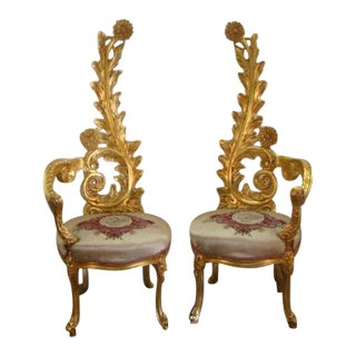 Decorators French Style Gold Gilt Chairs- A Pair For Sale