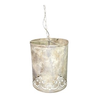 Industrial Tin Hanging Light Fixture For Sale