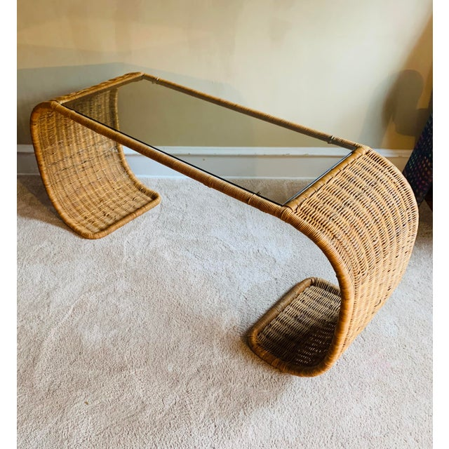 Vintage Rattan Scroll Console Table For Sale - Image 9 of 10