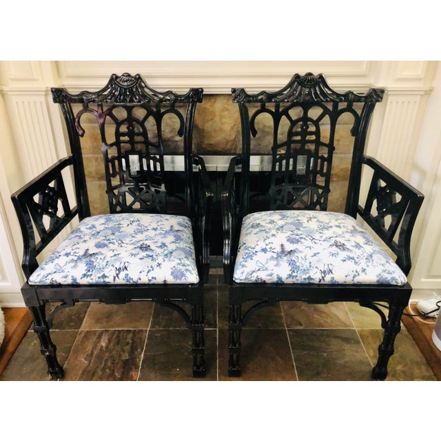 Faux Bamboo Pagoda Armchairs- A Pair For Sale - Image 12 of 12