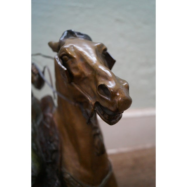 Pj Mene Large Bronze Sculpture Man Riding Horse For Sale - Image 10 of 11