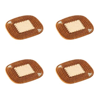 Square Coasters Ochre - Set of 4 For Sale