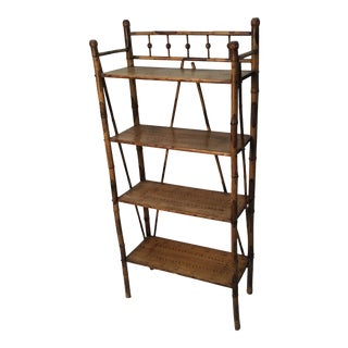 Antique Victorian Scorched Bamboo Bookshelf / étagère For Sale
