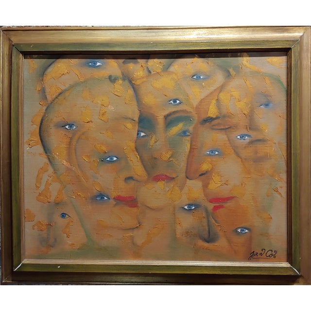 """Many Eyes & Faces - Cubist oil painting signed by Janco. oil panting on canvas -Signed circa 1960s frame size 28 x 24""""..."""
