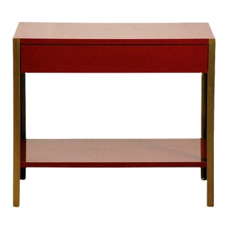 "Contemporary ""Laque"" Oxblood Lacquer and Brass Night Stand For Sale"