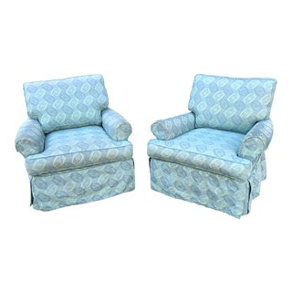 Rowe Furniture Slipcovered Swivel Chairs- a Pair For Sale