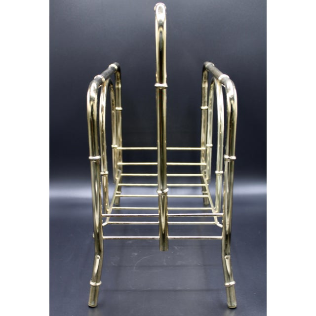 Brass Vintage Brass Bamboo Style Magazine Rack / Book Shelf For Sale - Image 8 of 13