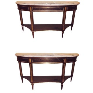 Pair of Mahogany Marble Top Demilune Jansen Style Consoles or Sofa Tables For Sale