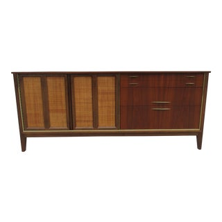 Mid Century Walnut Triple Dresser with Reversible Cane Side Panels